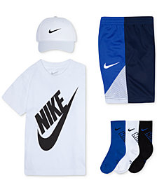 Nike Little Boys Swoosh Cap, Futura-Print T-Shirt, Colorblocked Shorts & Crew Socks
