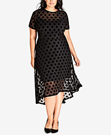 City Chic Trendy Plus Size Sheer Dot High-Low Dress