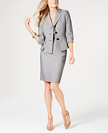 Le Suit Three-Button Printed Skirt Suit