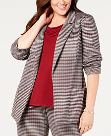 Nine West Plus Size Houndstooth-Print Boxy Jacket