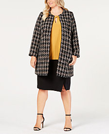Nine West Plus Size Topper Jacket, Keyhole Shell & Pencil Skirt