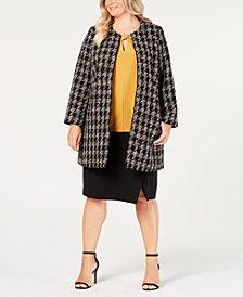 Nine West Plus Size Topper Jacket, Keyhole Shell & Pencil Skirt