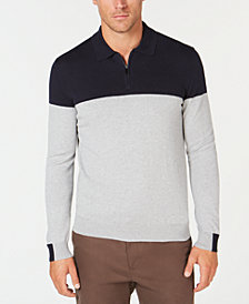 Tasso Elba Men's Lux Colorblocked Polo Sweater, Created for Macy's