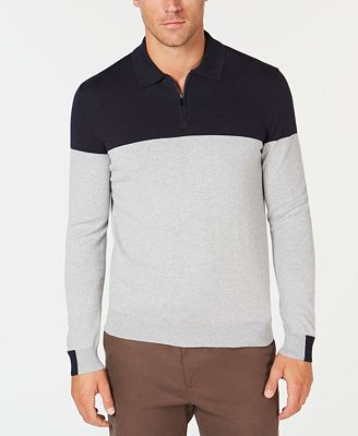 Tasso Elba Mens Lux Colorblocked Polo Sweater Created For Macys