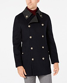 Men'sSlim-Fit Navy Solid Peacoat
