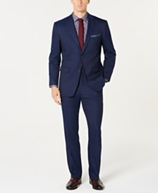 Perry Ellis Men's Slim-Fit Comfort Stretch Blue Windowpane Suit