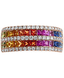 EFFY® Multi-Gemstone (1-1/2 ct. t.w.) & Diamond (1/2 ct. t.w.) Ring in 14k Rose Gold