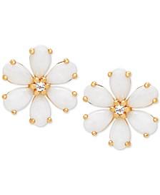 Opal (1-1/5 ct. t.w.) & White Topaz Accent Flower Stud Earrings in 14k Gold