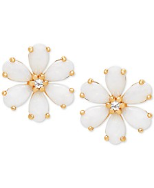 Opal (1-1/5 ct. t.w.) & White Topaz Accent Flower Stud Earrings in 14k Gold