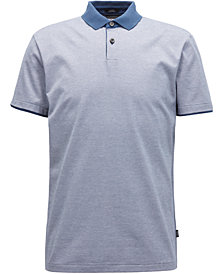 BOSS Men's Slim-Fit Flat-Knit Cotton Polo