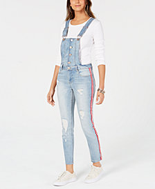 Dollhouse Juniors' Ripped Varsity-Stripe Denim Overalls