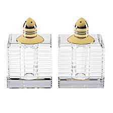 Badash Crystal Pinstripes Gold Salt  & Pepper Shaker Pair