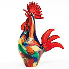 Badash Crystal Colorful Rooster Art Glass Sculpture