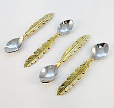 Badash Crystal 4-Piece Feather Design Cocktail Spoons