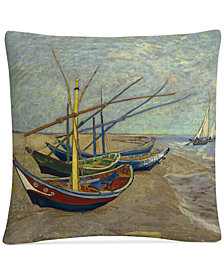 """Vincent Van Gogh Fishing Boats on the Beach 16"""" x 16"""" Decorative Throw Pillow"""