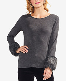 Vince Camuto Faux-Fur-Cuff Top