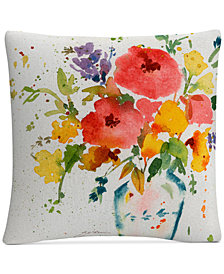 "Sheila Golden White Vase with Bright Flowers 16"" x 16"" Decorative Throw Pillow"