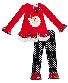 Rare Editions Little Girls 2-Pc. Santa Tunic & Leggings Set