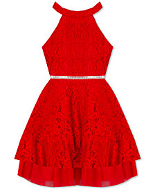 Rare Editions Big Girls Halter Lace Party Dress