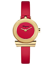Ferragamo Women's Swiss Gancino Red Leather Strap Watch 22mm