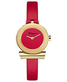 Ferragamo Women's Swiss Gancino Red Leather Strap Watch 22mm