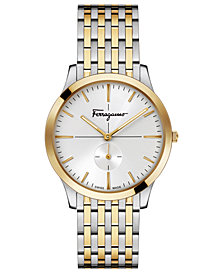 Ferragamo Men's Swiss Slim Formal Two-Tone Stainless Steel Bracelet Watch 40mm