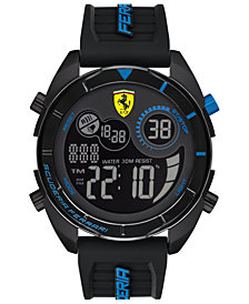 Ferrari Men's Forza Analong-Digital Black Silicone Strap Watch 45mm