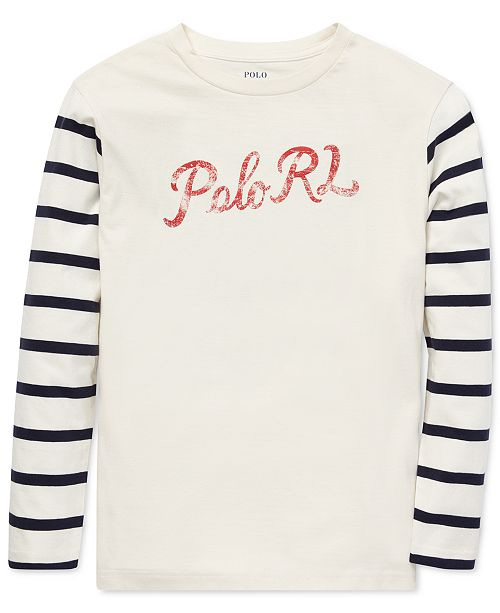 8b85f38b5 Polo Ralph Lauren Big Boys Graphic Cotton Long-Sleeve T-Shirt ...