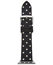 kate spade new york Women's Black with White Dot Silicone Apple Watch® Strap