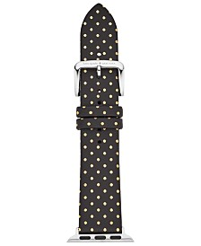 kate spade new york Women's Black with Gold-Tone Dot Leather Apple Watch® Strap