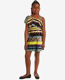 Rare Editions Big Girls One Shoulder Striped Sequin Dress