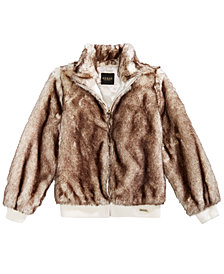 GUESS Big Girls Faux Fur Bomber Jacket