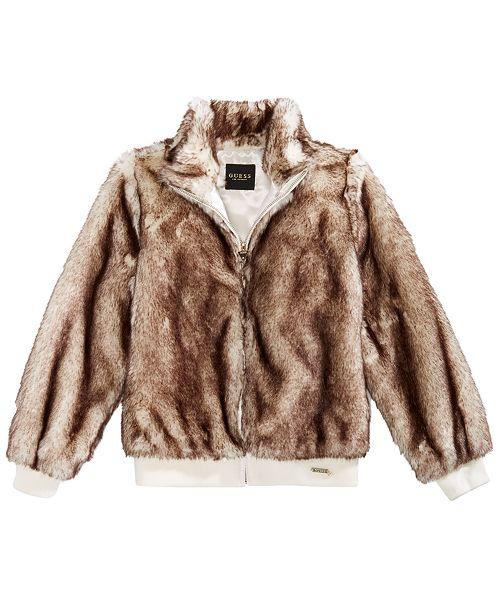 6f8328835 GUESS Big Girls Faux Fur Bomber Jacket & Reviews - Coats ...