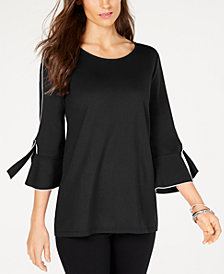Alfani Petite Piped-Detail Ruffled-Sleeve Top, Created for Macy's