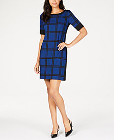 Alfani Varsity Windowpane Dress, Created for Macy's