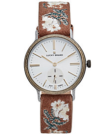 Lucky Brand Women's Ventana Floral Embroidered Brown Leather Strap Watch 34mm