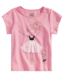 First Impressions Baby Girls Ballerina-Print Cotton T-Shirt Created for Macy's
