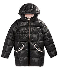MICHAEL Michael Kors Big Girls Hooded Stadium Puffer Jacket with Faux-Fur Trim