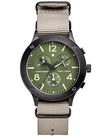 Lucky Brand Men's Chronograph Rockpoint Khaki Nato Strap Watch 42mm