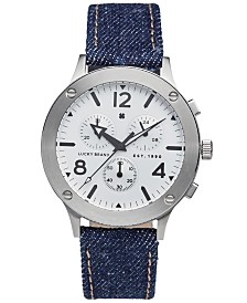 Lucky Brand Men's Chronograph Rockpoint Indigo Denim Strap Watch 42mm