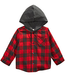 First Impressions Baby Boys Layered-Look Hooded Flannel Shirt, Created for Macy's