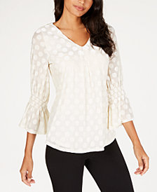 Alfani Petite Velvet Polka Dot Top, Created for Macy's