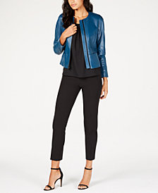 Anne Klein Collarless Leather Jacket, Ruched Top & Ankle Pants