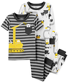 Carter's Baby Boys 4-Pc. Cotton Snug-Fit Construction Pajamas Set