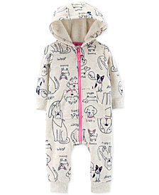 Carter's Baby Girls Dog-Print 1-Pc. Jumpsuit