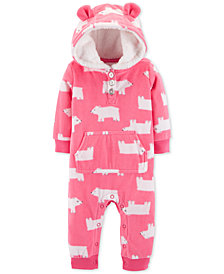 Carter's Baby Girls 1-Pc. Bear-Print Hooded Coverall