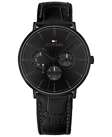 Tommy Hilfiger Men's Black Leather Strap Watch 40mm, Created for Macy's