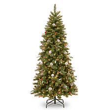 National Tree 7 .5' Frosted Pine Berry Slim Hinged Tree with  Cones, Red Berriesa and Eucalyptus Leaves & 550 Clear Lights