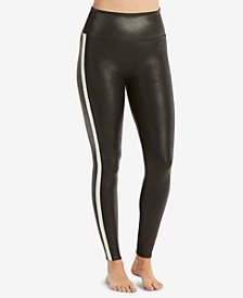Tuxedo-Stripe Faux-Leather Leggings
