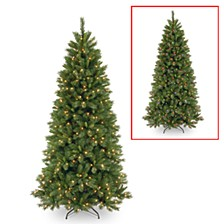 National Tree 7 .5' Lehigh Valley Pine Slim Hinged Tree with 450 Low Voltage Dual LED Lights with 9 Function Footswitch